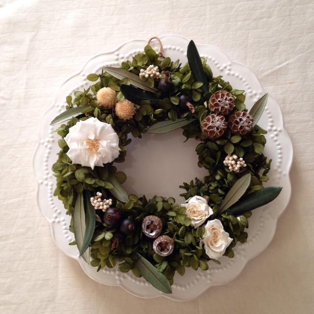 アジサイとオリーブのgreen wreath