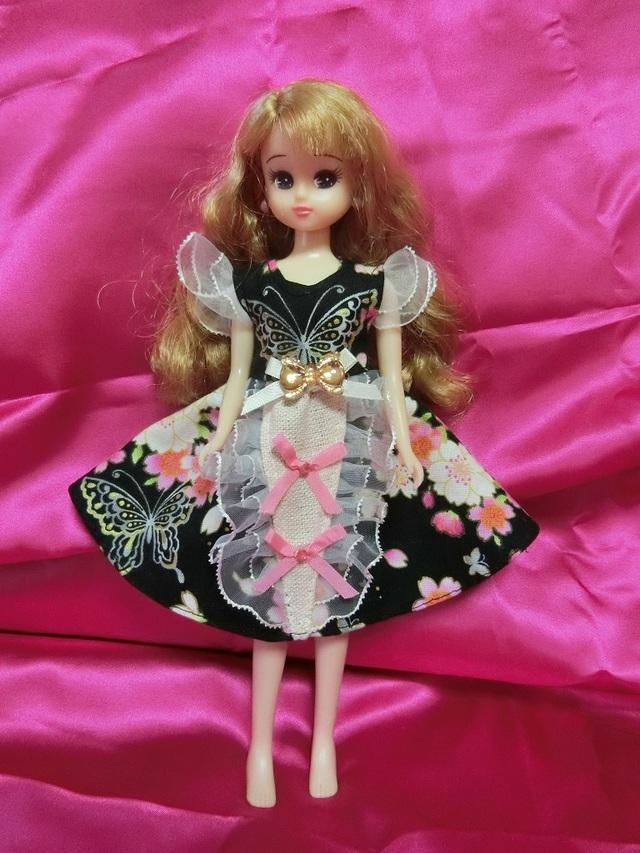 リカちゃん 和柄ドレス(桜×蝶) ブラック