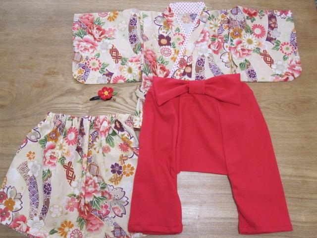 keeeeei06様オーダー品 80cm 着物&袴もどき&スカート、髪飾り