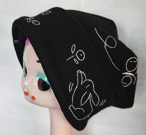 ウールアンゴラ入りニット生地のニット帽(黒)