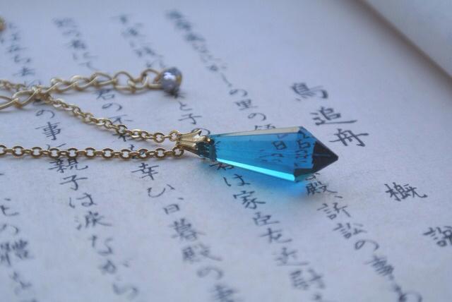 夜の魔術部  ピーコックブルー シャンデリア硝子 ネックレス