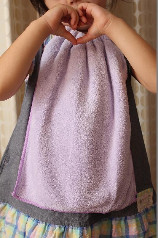 タオルエプロン ふんわりタオル紫色