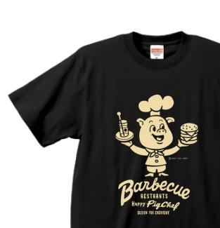 バーベキュー・ピッグ・シェフ XS〜XL Tシャツ【受注生産品】