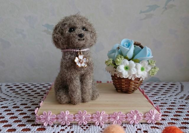 羊毛 トイプードル  グレー(ばら花かご)