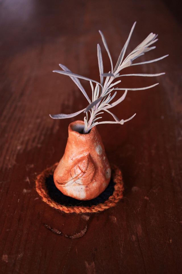 備前焼  ちび花器 チョロリ ヒダスキ 選べるお座布