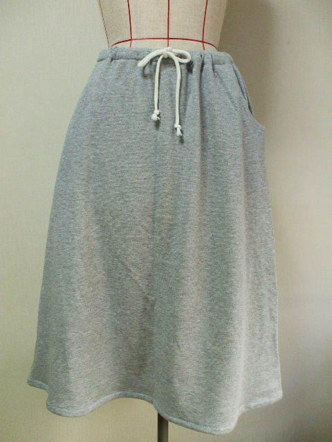ラメ入り裏毛素材Aラインスカート M〜LLサイズ グレー