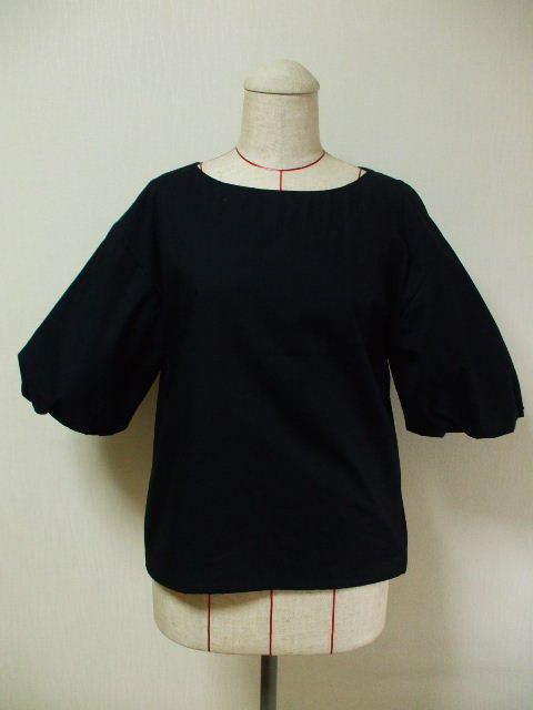 ラウンドネック バルーン5分丈袖プルオーバー M~Lサイズ 黒 受注生産