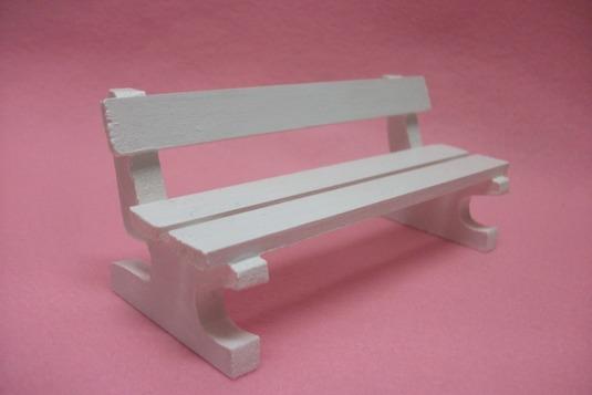 ミニチュアサイズ!木製のイス−ベンチMホワイト−