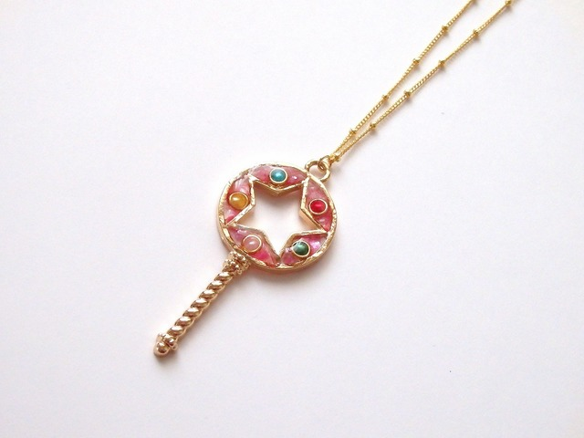 16magical keys pink star stick ネックレス