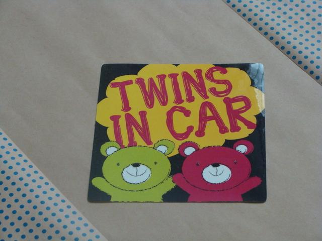 『双子ちゃんが乗っています』カラフルくまさん