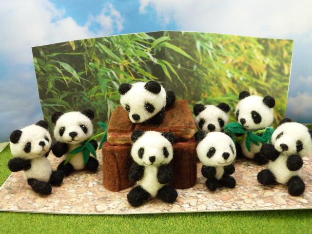 羊毛フェルトのパンダ幼稚園