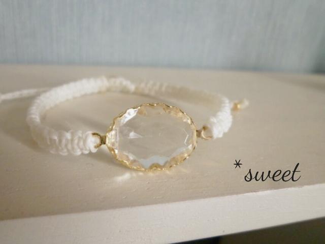 〜白〜ゴールドフレーム/ガラス/平編みワックスコードブレス