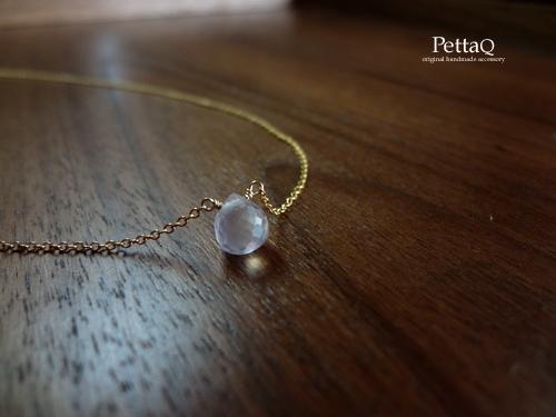 【14KGF】宝石質ローズクォーツのネックレス