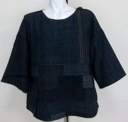着物リメイク 絣と消防団服で作ったプルオーバー 1121