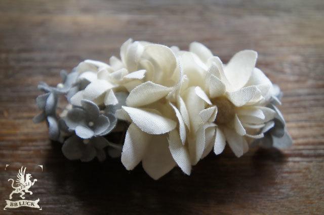 barrette  【 紫陽花とマーガレットのバレッタ * gray 】
