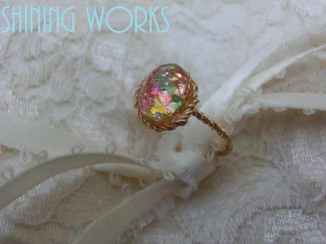 再販:ガラスオパールの一粒リング 春色バランスカラー