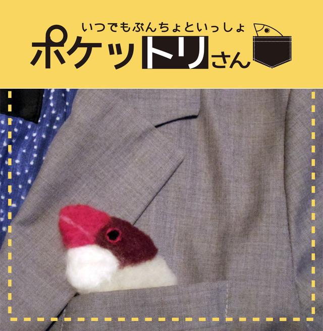 ポケットリさんブローチ シナモン文鳥