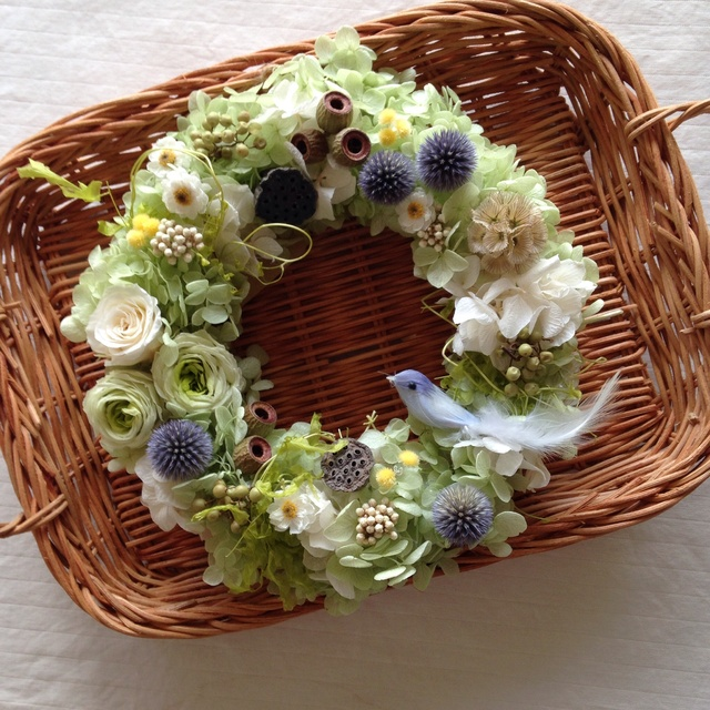 blue bird wreath