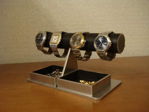 時計ケース!ブラックダブルでかいトレイ付き腕時計ラック