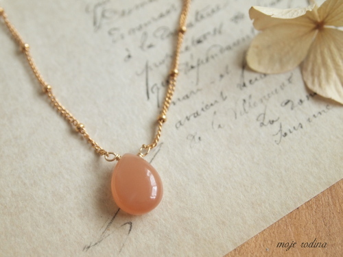 Peach moonstone long necklace