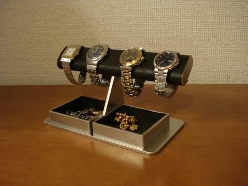 ウォッチ収納!ブラックだ円ダブルでかいトレイ腕時計スタンド