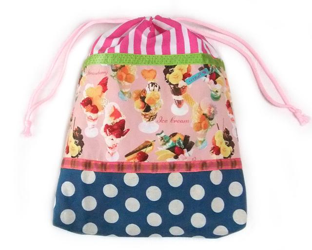 大きな巾着袋 体操袋・給食袋×かわいいパフェ柄MIX-両ひも
