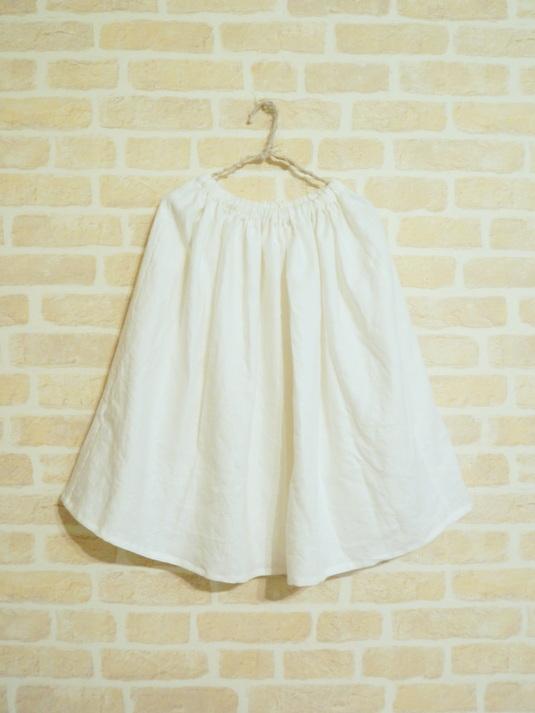 リネンのギャザースカート【オフホワイト】