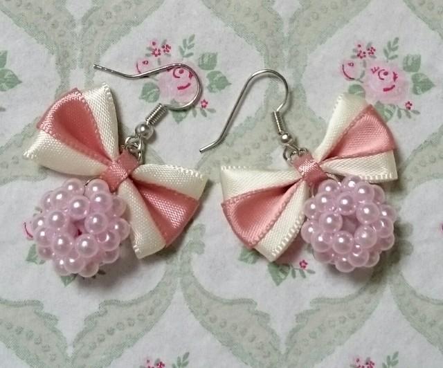 ?リボンとパールのピアス(ピンク×ピンク)?