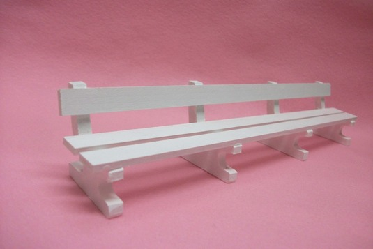 ミニチュアサイズ!木製のイス−ベンチLホワイト−