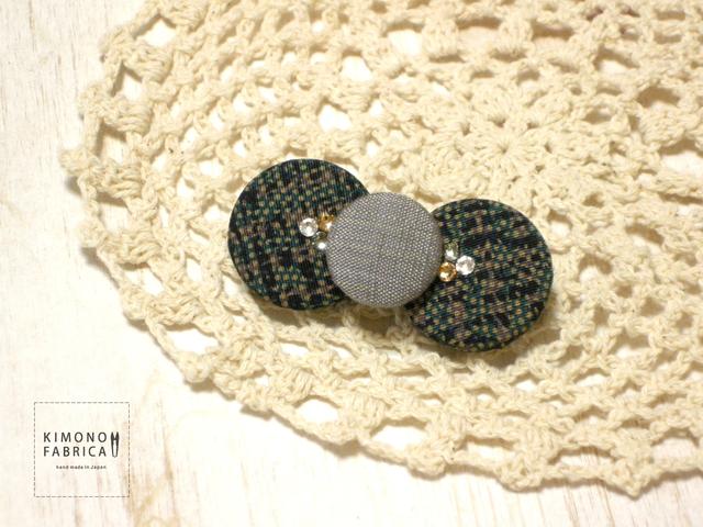 リボンブローチ / green x navy