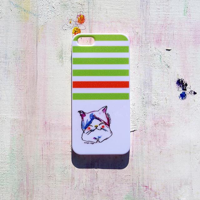 がちゃこねこのボーダーな気分(黄緑) iPhone case(5/5S)