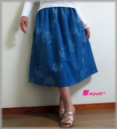 ブルー系鶴柄ふんわり着物スカート