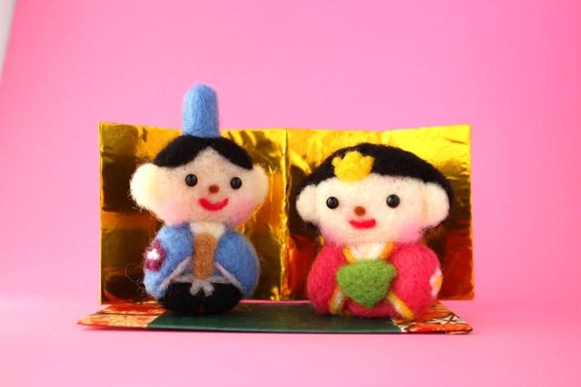 お内裏様(青)とお雛様 桃の節句 雛飾り 3月の飾り物 羊毛フェルト