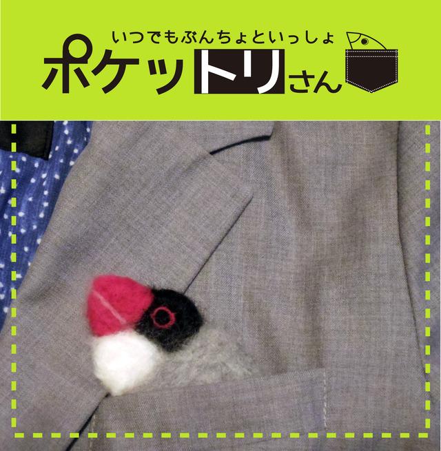 ポケットリさんブローチ 桜文鳥
