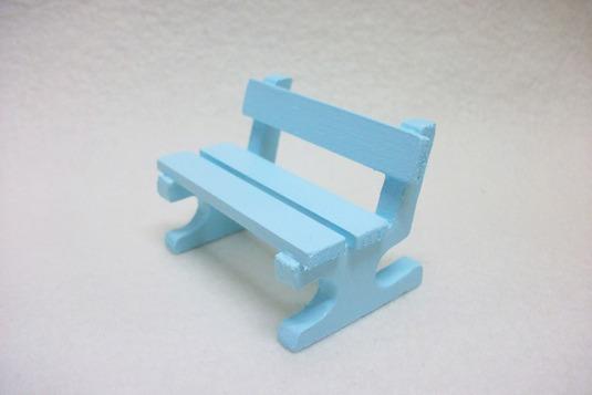 ミニチュアサイズ!木製のイス−ベンチSブルー−
