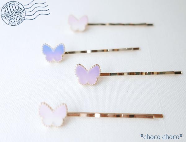 【3色】蝶のヘアピン