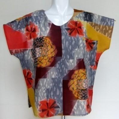 着物リメイク 銘仙の着物で作ったTシャツ 1133