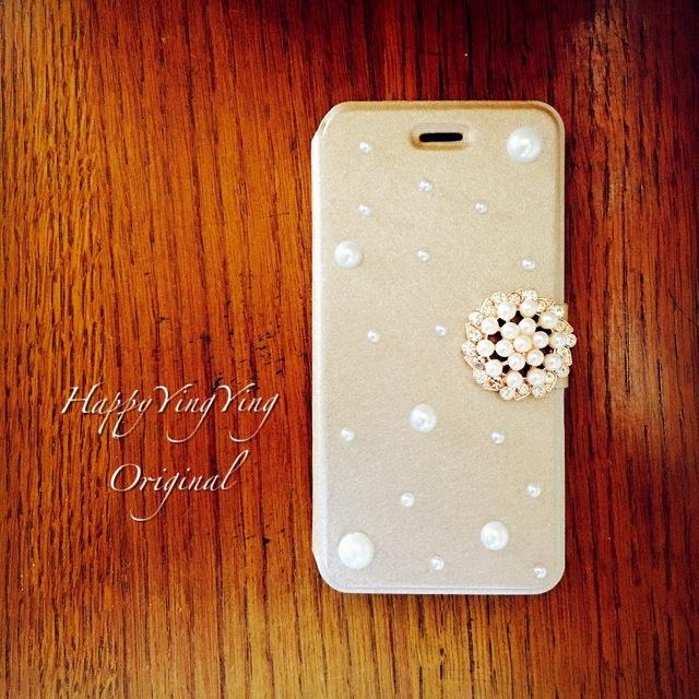 通話穴/iphone7/Galaxys7edge【大小★パール】「金」手帳型
