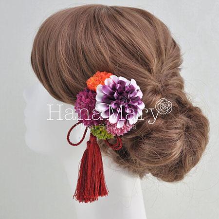 グラデーションダリアとピンポンマムの髪飾り