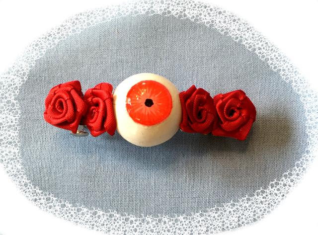 目玉バレッタ薔薇 レッド