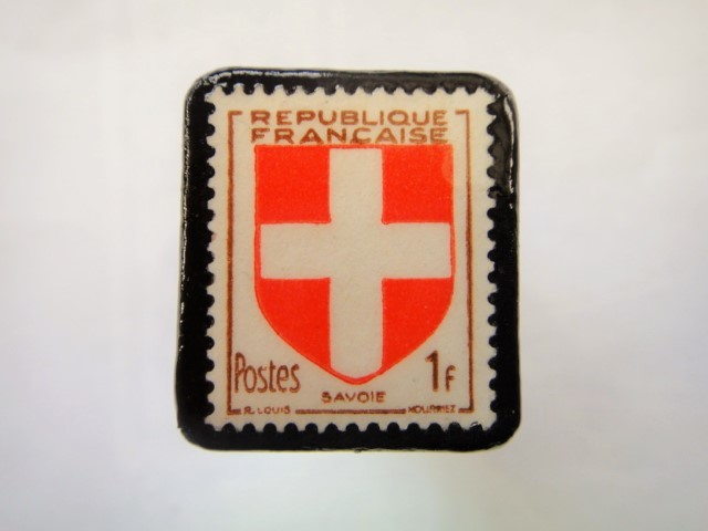 フランス1949年「紋章」切手ブローチ897