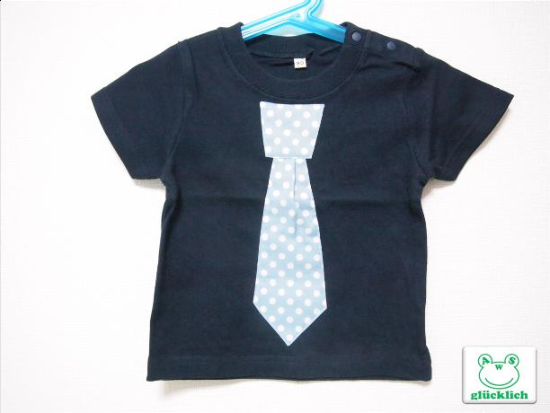 ネクタイTシャツ/80サイズ/ネイビー×水色/水玉