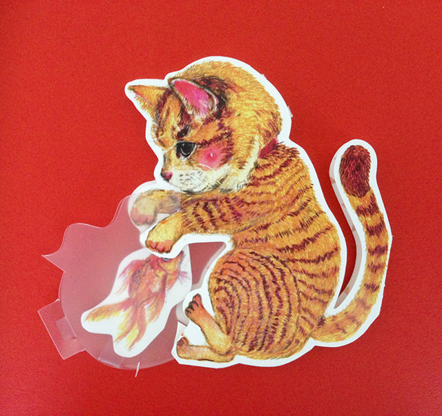 猫と金魚鉢カード