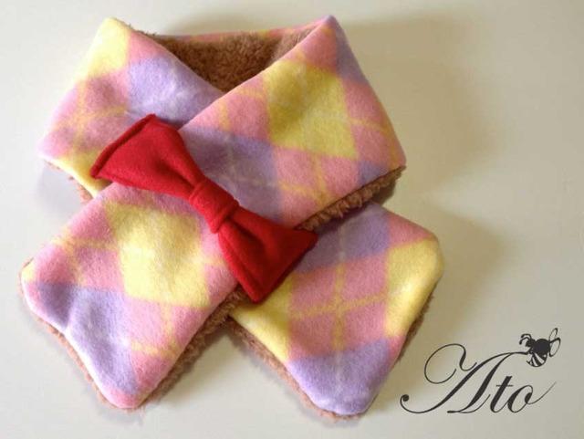 【再販】ピンクのダイヤチェックとふわふわボアのリボンネックウォーマー 【リバーシブル】