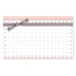 (MC10)〈メッセージカードorシール〉四葉のパターンとリボン《ピンク&グレイ》A4サイズ