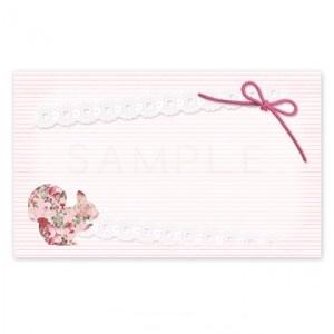 (MC13)〈メッセージカードorシール〉お花のリスとリボン《ピンク01》   A4サイズ