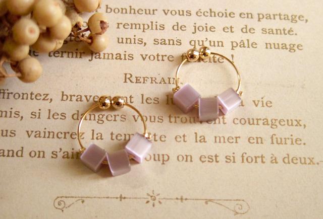 フランスビンテージビーズノンホールピアス(紫)