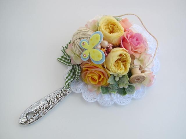 「糸巻きが繋ぐ春の甘い約束」な楽屋ミラー