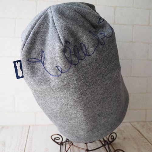 安らぐ英語の刺繍入れたウールニット生地で作ったニット帽(鳥)