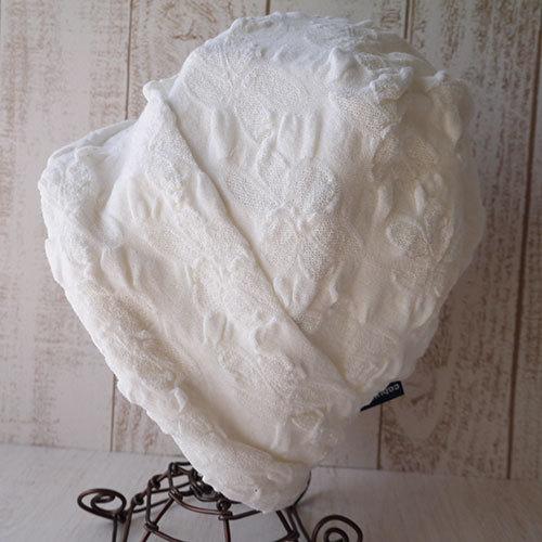 フラワー柄織ニット帽(白)